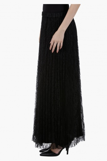 Pleated Maxi Skirt with Lace in Regular Fit