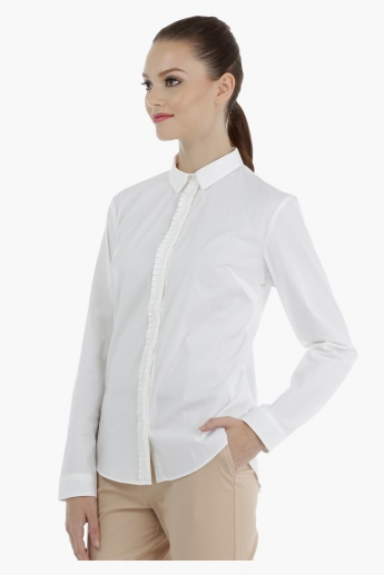 Button Down Shirt with Ruffled Placket