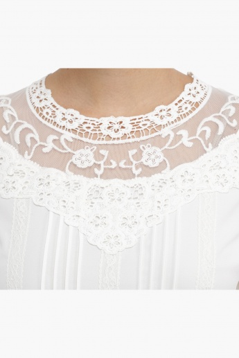 Lace Yoke Top with Pintucks