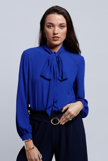 Regenerated Long Sleeves Top with Tie Up Neck