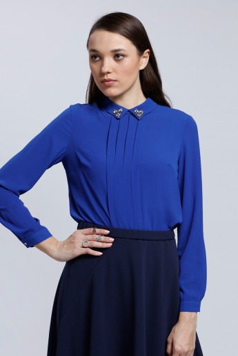 Long Sleeves Top with Complete Front Placket