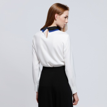 Double Collar Top with Long Sleeves and Keyhole Closure