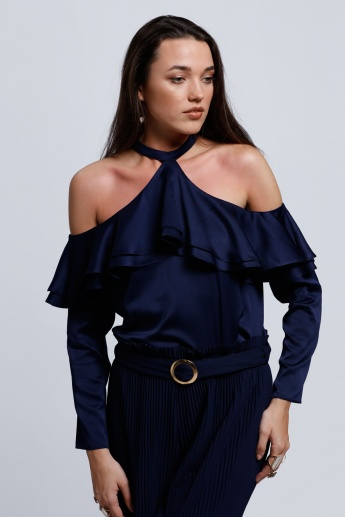 Regenerated Cold Shoulder Top with Frilled Detail