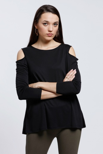 Boat Neck Top with Cold Shoulders