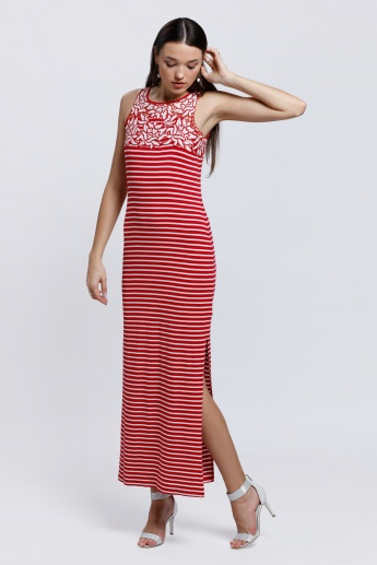 Sleeveless Maxi Dress with Side Slip