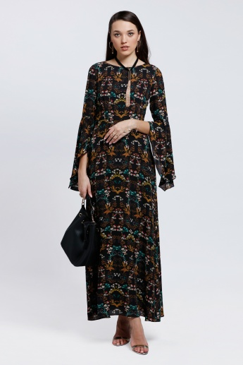 Printed Midi Dress with Flare Sleeves