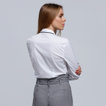 Bib Detail Shirt with Long Sleeves and Complete Placket
