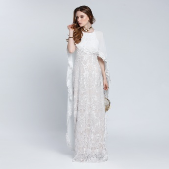 Lace Maxi Dress with Round Neck