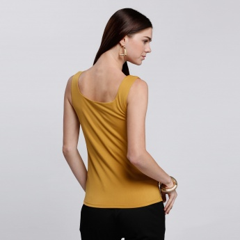 Sleeveless Vest with Square Neck