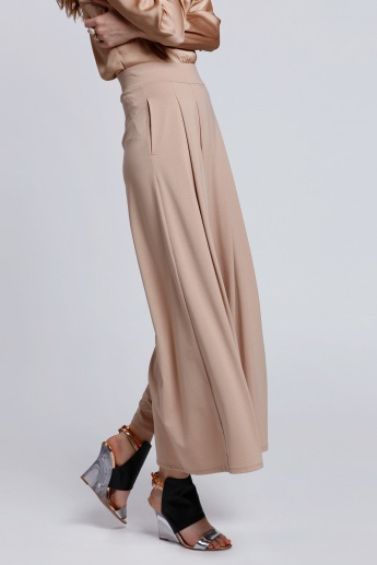 Pleated Palazzo Pants with Elasticised Waistband