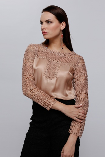 Long Sleeves Top with Lace Detail