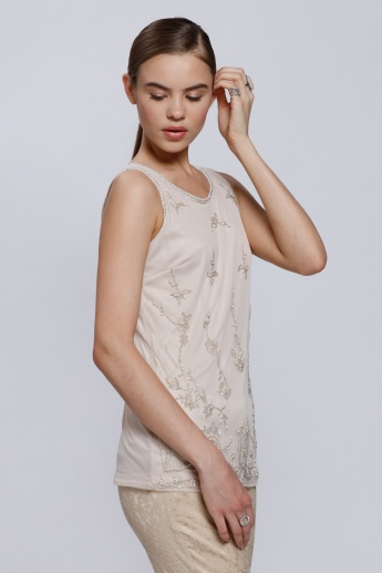 Embellished Sleeveless Top with Round Neck