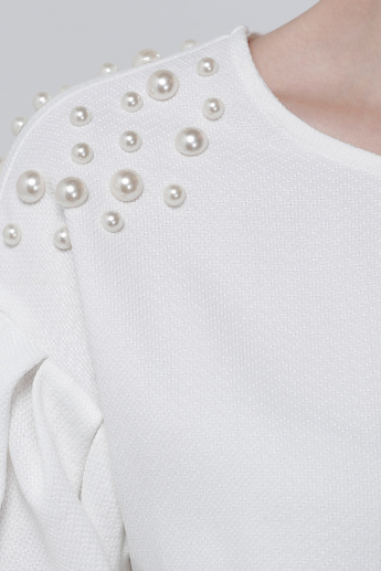 Embellished 3/4 Sleeves Top with Round Neck