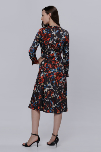 Floral Printed Midi Dress with Long Sleeves