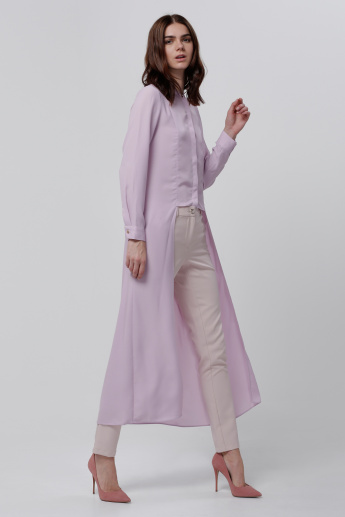 Long Line Shirt with Button Placket and Long Sleeves