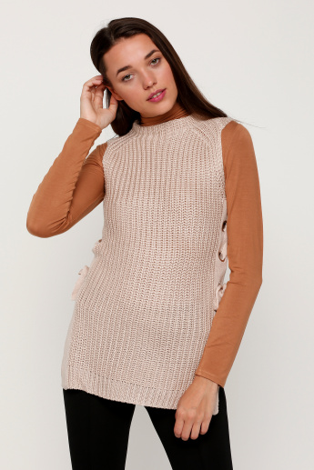 Round Neck Sleeveless Knitted Sweater
