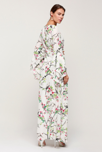 89dd858d9e Floral Printed Maxi Dress with Layered Bell Sleeves | White