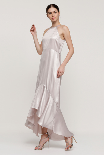 Maxi Dress with High Low Hem and Ruffle Detail