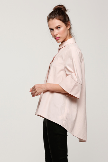 Boxy Shirt with Concealed Placket and High Low Hem