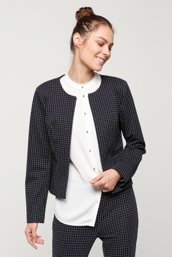 Chequered Open Front Jacket with Long Sleeves