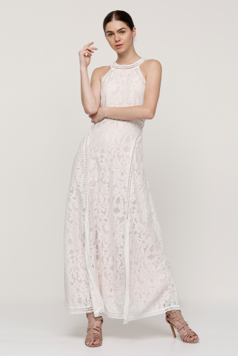 Embroidered Maxi Dress with Key Hole Closure and Slit Detail