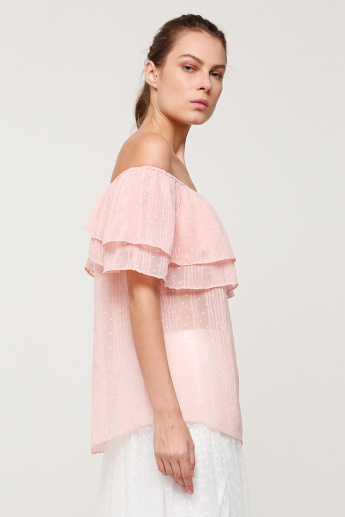Off Shoulder Top with Ruffle Detail