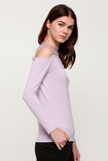 Cold Shoulder Sweater with Long Sleeves and Mesh Detail