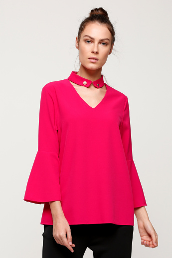 Choker Neck Top with Long Sleeves