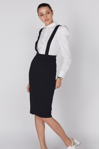 Midi Pencil Skirt with Suspenders