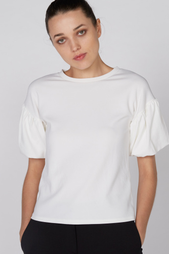 Round Neck Top with Short Volume Sleeves