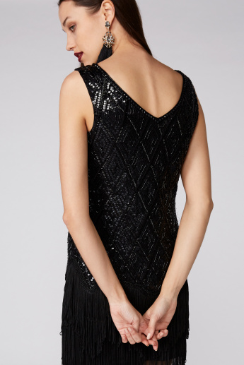 Embellished Dress with Round Neck and Tassels