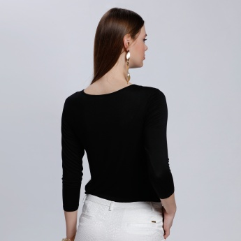 3/4 Length Top with Round Neck