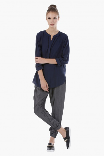 Woven Top with 3/4 Sleeves and High Low Hem