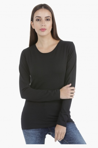 Basic T-Shirt with Long Sleeves and Crew Neck in Regular Fit