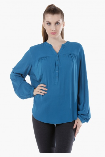 Long-Sleeved Blouse with Tie-Up Neck and Ruffled Cuffs in Regular Fit