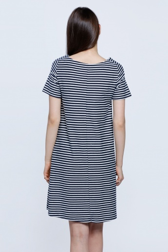 Striped Dress with Boat Neck and Short Sleeves