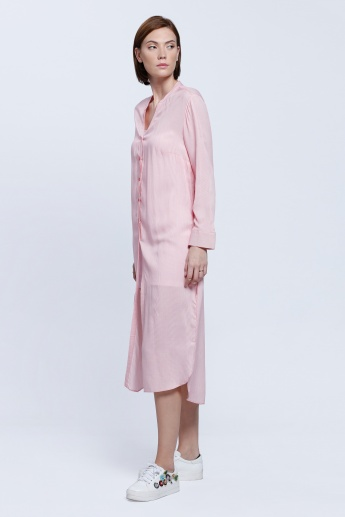 Long Top with Button Placket and Long Sleeves
