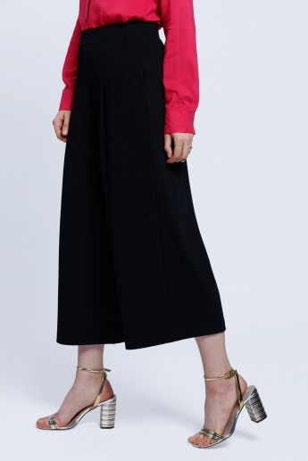 Textured Palazzo Pants with Pockets
