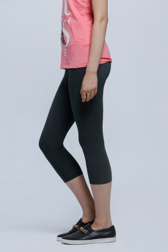 Printed 3/4 Length Leggings with Elasticised Waistband