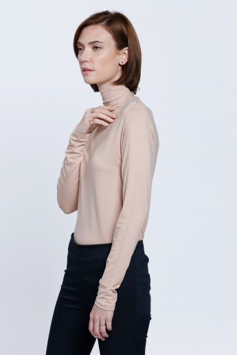 Long Sleeves Top with Turtle Neck