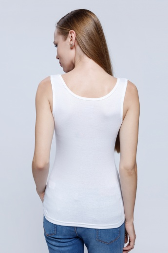 Sleeveless Top with Round Neck