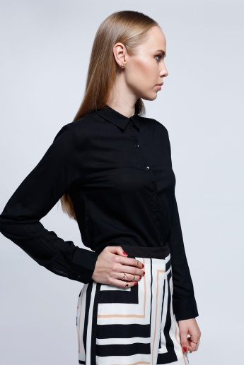 Long Sleeves Top with Spread Collar