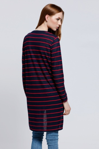Striped Longline Top with Long Sleeves and High Low Hem