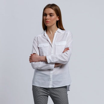 Long Sleeves Shirt with Pocket Detail and High Low Hem