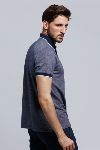 Polo Neck T-Shirt with Short Sleeves and Side Slits