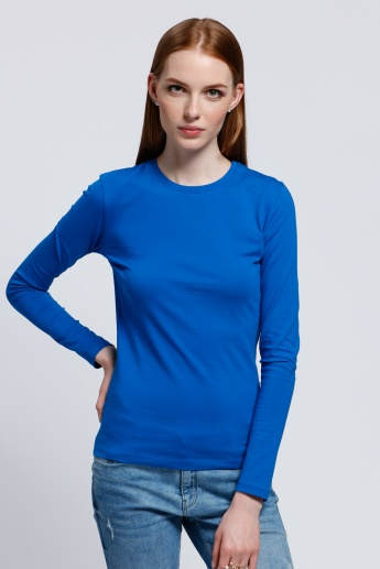 Long Sleeves T-Shirt with Round Neck in Regular Fit