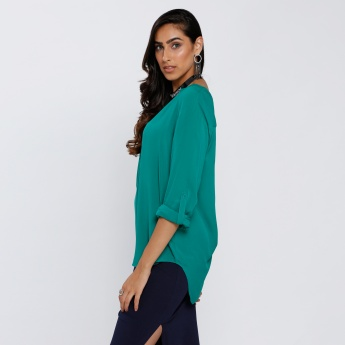 High Low Hem Top with Roll Up Sleeves