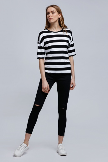 Striped T-Shirt with Round Neck