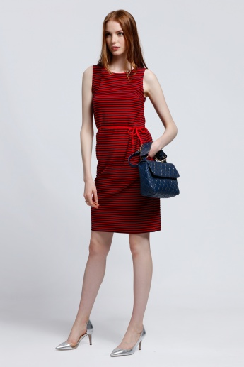 Striped Sleeveless Dress with Round Neck and Tie Up