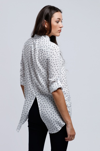 Printed Roll Up Sleeves Shirt